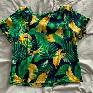 Old navy linen banana leaf girls Top XS